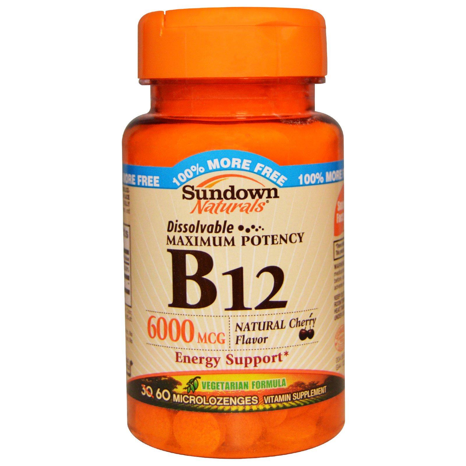 Sundown Naturals, B12, максимальная эффективность, натуральный вишневый вкус, 6000 мкг, 60 мини-леденцов