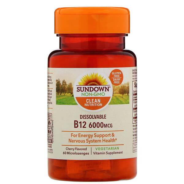 Sundown Naturals, Vitamine B12 soluble, Parfum cerise, 6000 µg, 60 micropastilles