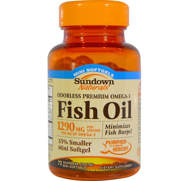 Sundown Naturals, Fish Oil, Odorless Premium Omega-3, 1290 mg, 72 Coated Mini Softgels (Discontinued Item)