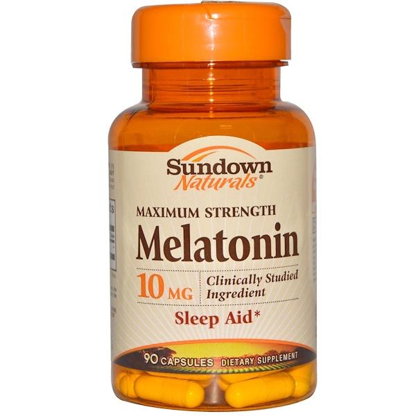 Sundown Naturals, Мелатонин, максимальная сила, 10 мг, 90 капсул