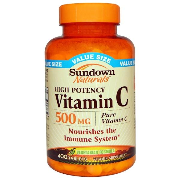Sundown Naturals, Высокоэффективные витамин C, 500 мг, 400 таблеток (Discontinued Item)