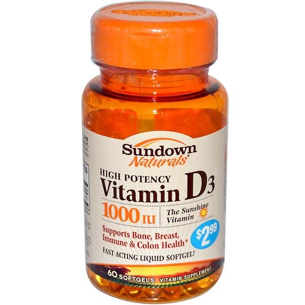 Sundown Naturals, High Potency Vitamin D3, 1000 IU, 60 Softgel (Discontinued Item)