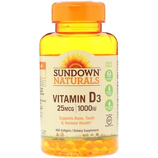 Sundown Naturals, 維生素D3,25微克(1,000國際單位),400粒軟膠囊