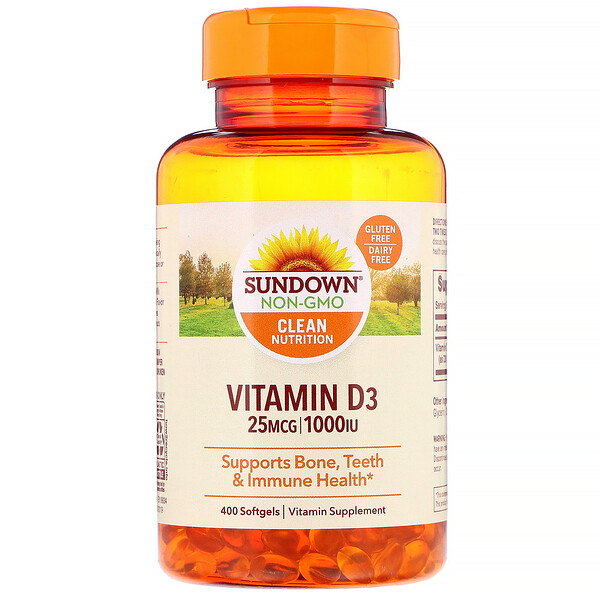Sundown Naturals, Vitamin D3, 25 mcg (1,000 IU), 400 Softgels