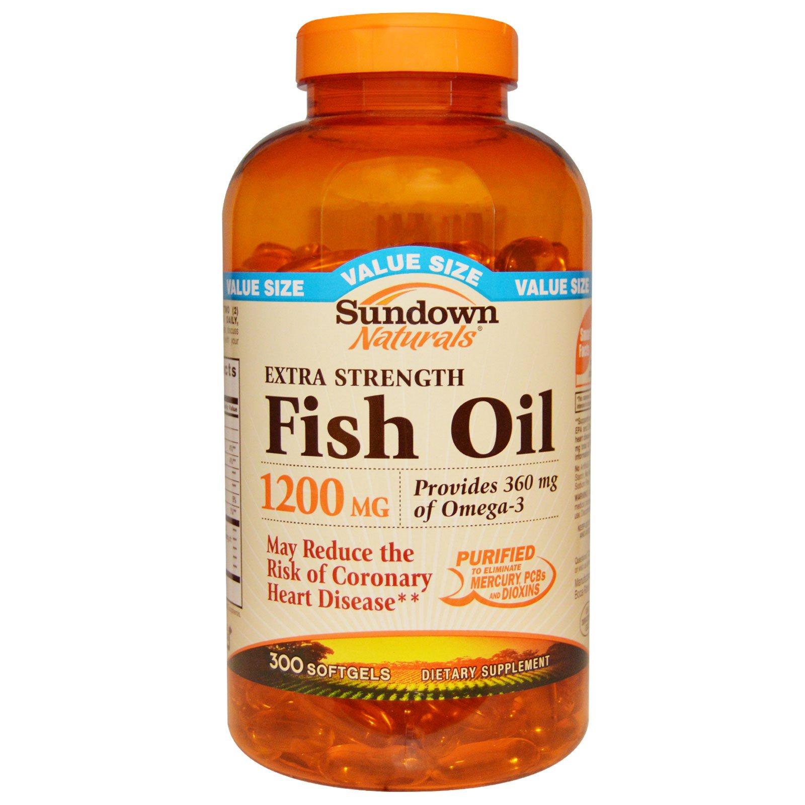 Sundown Naturals, Экстра сильный рыбий жир 1200 мг, 300 гелевых капсул