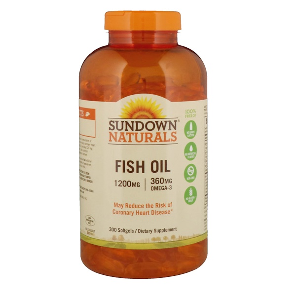 Sundown Naturals, Рыбий жир, 1200 мг, 300 мягкие капсул