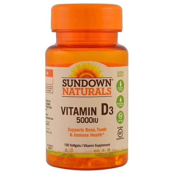 Sundown Naturals, Витамин D3, 5000 МЕ, 150 желатиновых капсул (Discontinued Item)