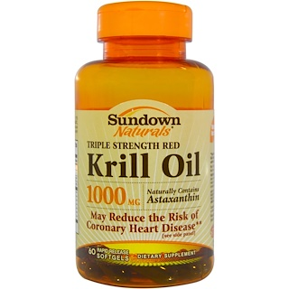 Sundown Naturals, Triple Strength Red Krill Oil, 1000 mg, 60 Rapid Release Softgels