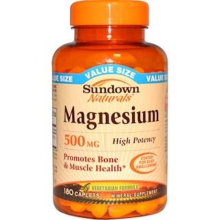 Sundown Naturals, Magnesium, 500 mg, 180 Caplets