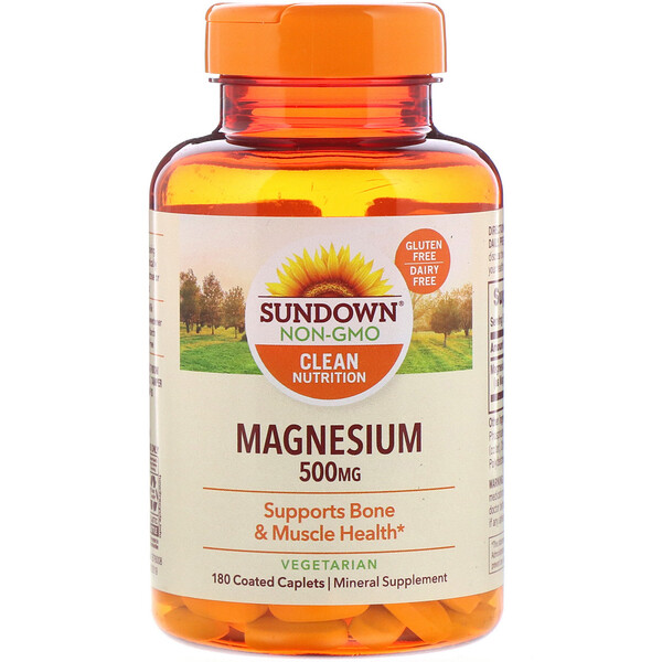 Sundown Naturals, Magnesio, 500 mg, 180 mg comprimidos oblongos