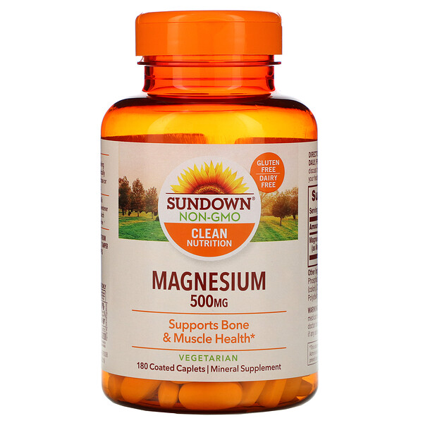 Sundown Naturals, Magnesium, 500 mg, 180 Coated Caplets