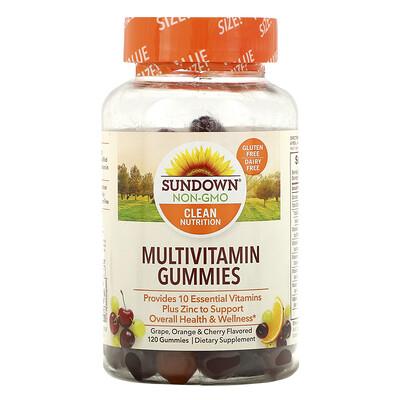 Sundown Naturals Мультивитаминные жевательные конфеты, со вкусом винограда, апельсина и вишни, 120шт.