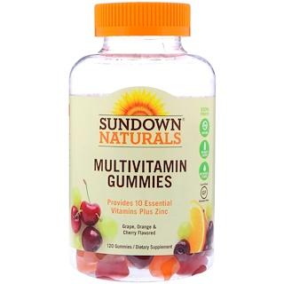 Sundown Naturals, マルチビタミングミ、グレープ、オレンジ&チェリーフレーバー、120グミ