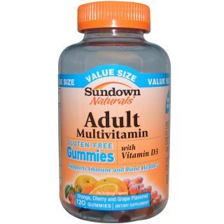Sundown Naturals, Adult Multivitamin, Cherry and Grape Flavored, 120 Gummies