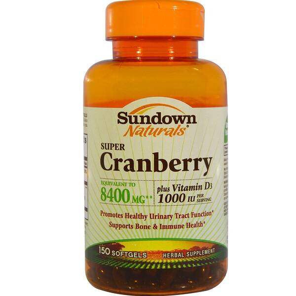 Sundown Naturals, Super Cranberry, Plus Vitamin D3, 150 Softgels (Discontinued Item)