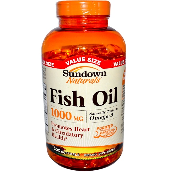 Sundown Naturals, Fish Oil, 1000 mg, 300 Softgels (Discontinued Item)