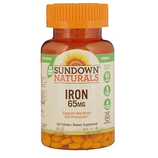 Sundown Naturals, Iron, 65 mg, 120 Tablets