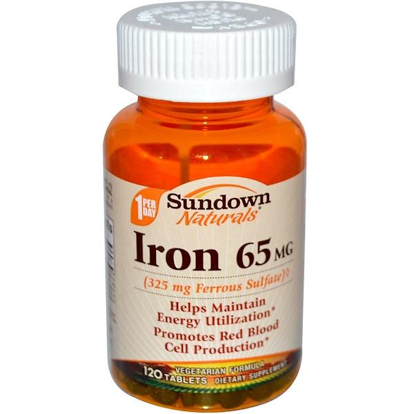 Sundown Naturals, Железо, 65 мг, 120 таблеток