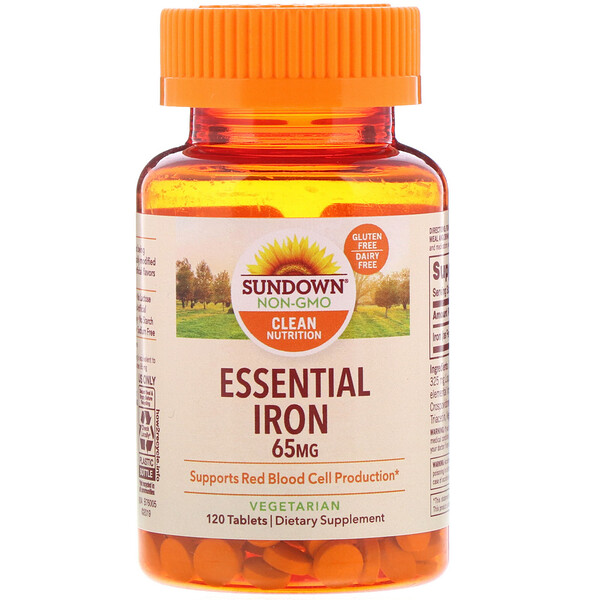 Sundown Naturals, Essential Iron, 65 mg, 120 Tablets