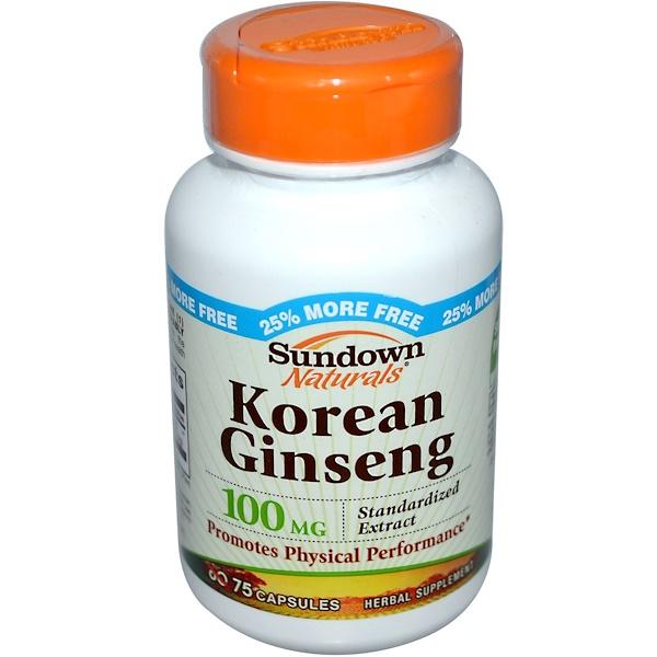 Sundown Naturals, Korean Ginseng, 100 mg, 75 Capsules (Discontinued Item)