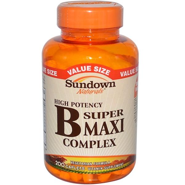 Sundown Naturals, Супер макси комплекс Витамина В, высокоэффективный 200 капсул (Discontinued Item)