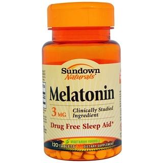 Sundown Naturals, Мелатонин, 3 мг, 120 таблеток
