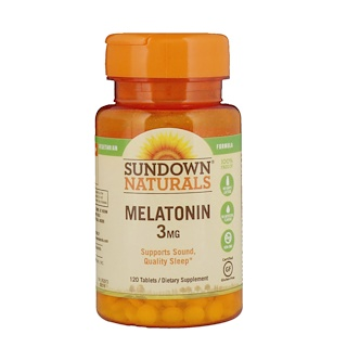 Sundown Naturals, الميلاتونين، 3 ملغ، 120 قرص