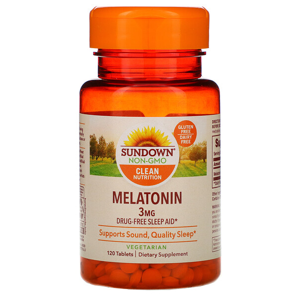 Sundown Naturals, Melatonina, 3 mg, 120 comprimidos