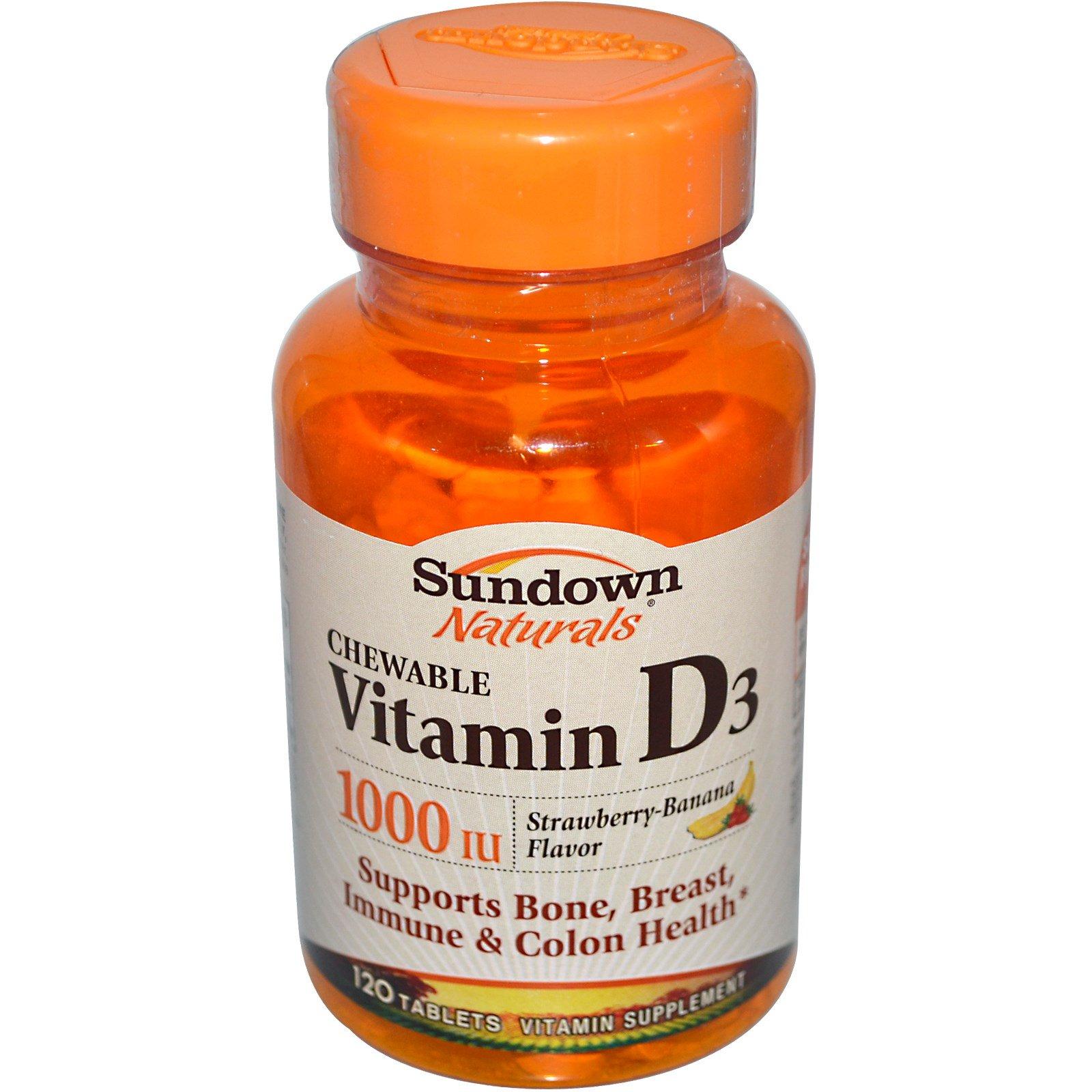 Sundown Naturals, Жевательный витамин D3, аромат клубники-банана, 1000 МЕ, 120 таблеток