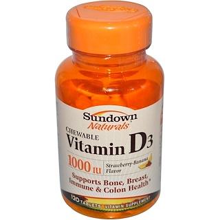 Sundown Naturals, 維生素D3咀嚼片,1000IU,草莓香蕉味,120片