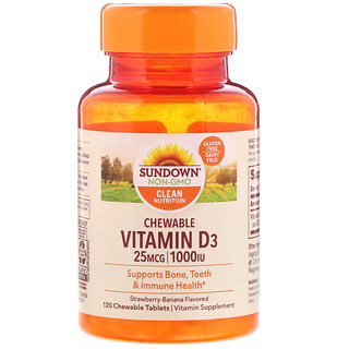 Sundown Naturals, Chewable Vitamin D3, Strawberry-Banana Flavored, 25 mg (1,000 IU), 120 ChewableTablets