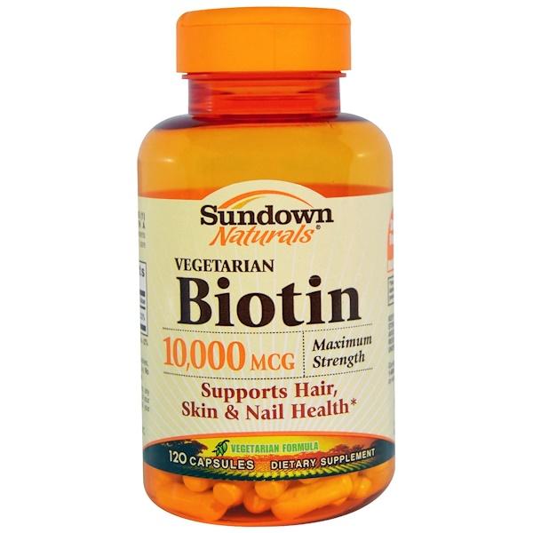 Sundown Naturals, Biotin, Vegetarian, Maximum Strength, 10,000 mcg, 120 Capsules (Discontinued Item)