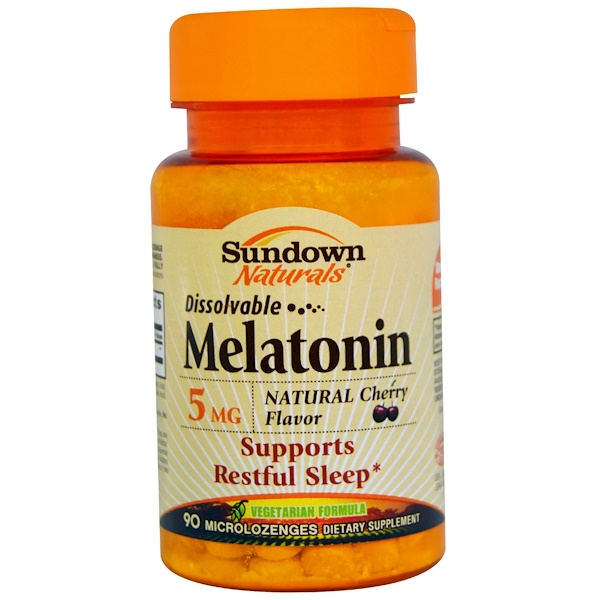Sundown Naturals, Melatonin, Dissolvable, 5 mg, 90 Microlozenges (Discontinued Item)
