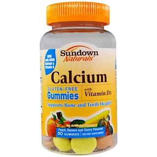 Sundown Naturals, 鈣軟糖,桃子、香蕉和櫻桃味,無麩質,50粒
