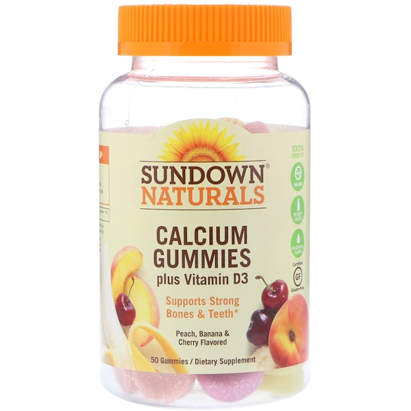 Sundown Naturals, Calcium Gummies, Plus Vitamin D3, Peach, Banana and Cherry Flavored, 50 Gummies