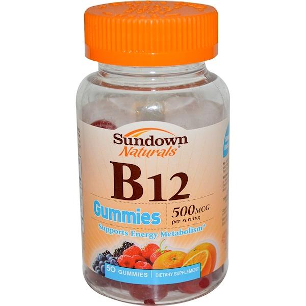 Sundown Naturals, B12 Gummies, 500 mcg, 50 Gummies (Discontinued Item)