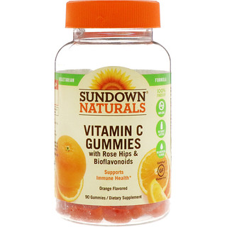 Sundown Naturals, 로즈힙 & 바이오플라보노이드를 함유한 비타민 C 구미, 오렌지 맛, 90 구미
