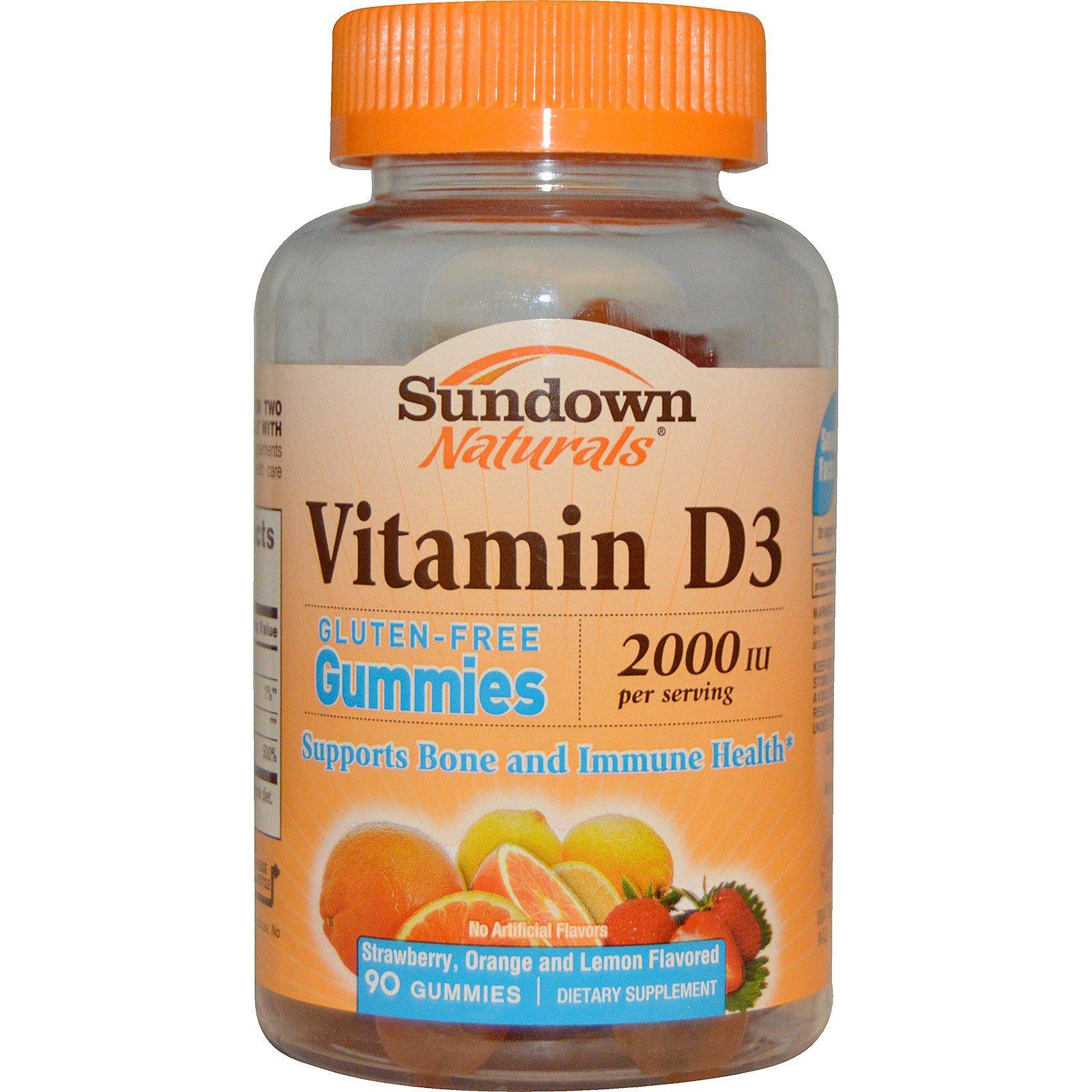 Sundown Naturals, Витамин D3, со вкусом клубники, апельсина и лимона, 2000 МЕ, 90 желейных витаминов