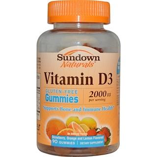Sundown Naturals, Vitamin D3, Strawberry, Orange, and Lemon Flavored, 2000 IU, 90 Gummies
