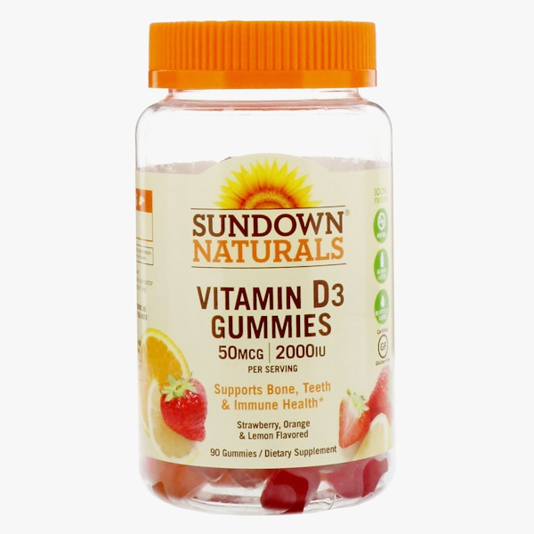 Sundown Naturals, Vitamin D3 Gummies, Strawberry, Orange, & Lemon Flavored, 50 mcg (2,000 IU), 90 Gummies