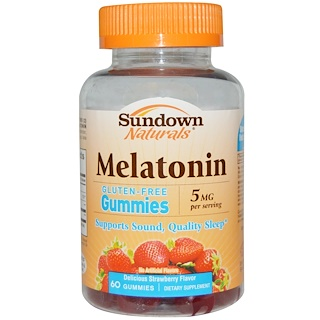 Sundown Naturals, Melatonin Gummies, Delicious Strawberry Flavor, 5 mg, 60 Gummies