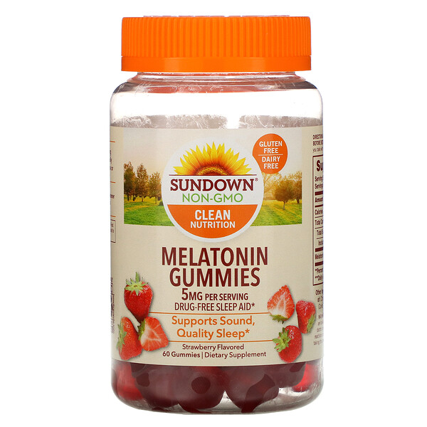 Melatonin Gummies, Strawberry Flavored, 5 mg, 60 Gummies