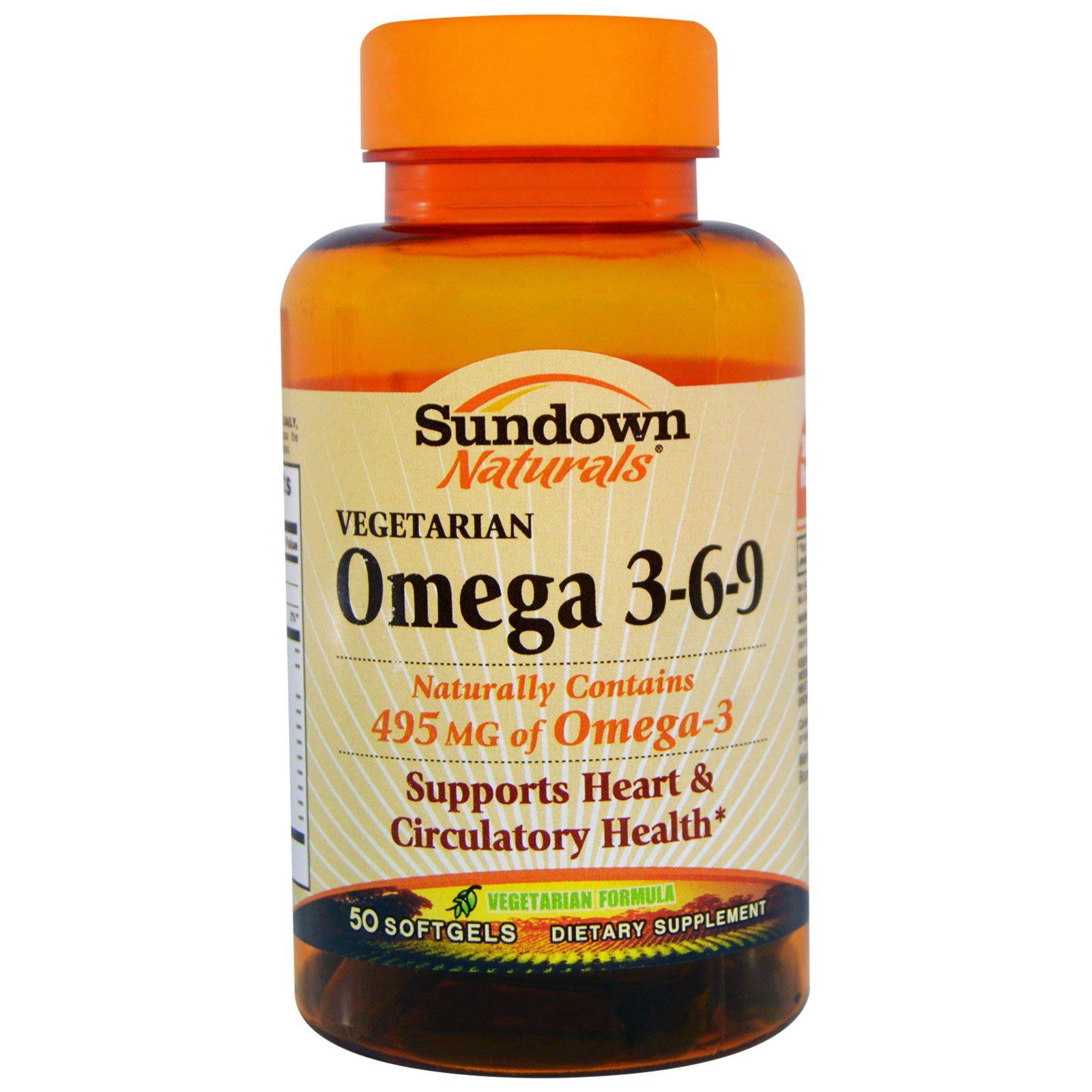 Sundown Naturals, Омега 3-6-9, вегетарианская, 50 мягких желатиновых капсул