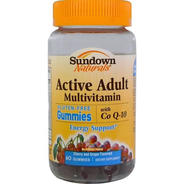 Sundown Naturals, Active Adult Multivitamin, with Co Q-10, Cherry and Grape Flavored, 60 Gummies (Discontinued Item)