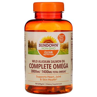 Sundown Naturals Complete Omega, Wild Alaskan Salmon Oil, 1,400 mg, 90 Softgels