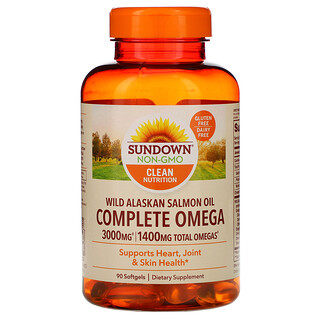 Sundown Naturals, Complete Omega,野生阿拉斯加鲑鱼油,1,400 毫克,90 粒软胶囊