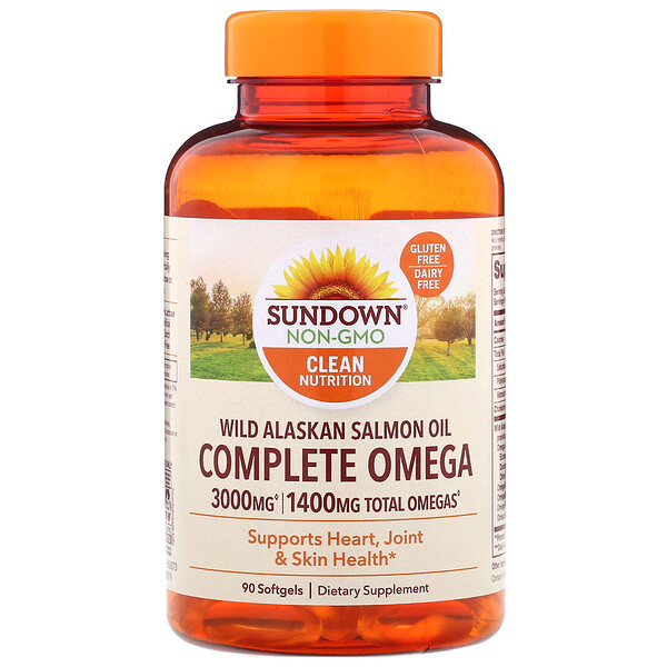 Sundown Naturals, Complete Omega, Wild Alaskan Salmon Oil, 1400 mg, 90 Softgels