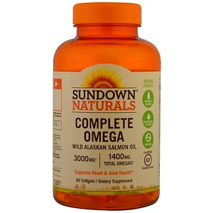 Sundown Naturals, Полная Омега, 1400 мг, 90 мягких желатиновых капсул