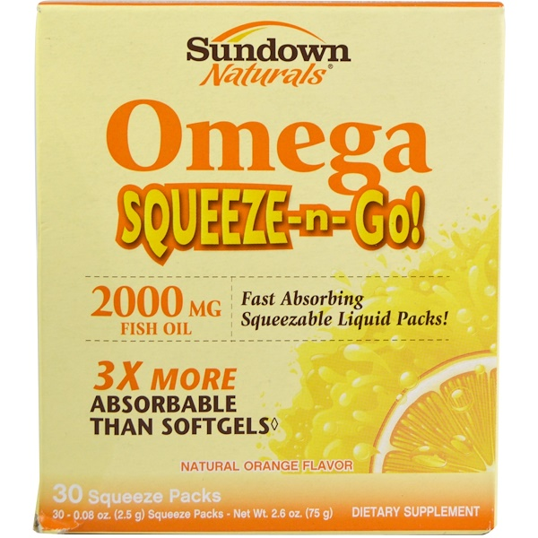 Sundown Naturals, Omega Squeeze-n-Go!, Natural Orange Flavor, 2000 mg, 30 Squeeze Packs, 0.08 oz (2.5 g) Each (Discontinued Item)