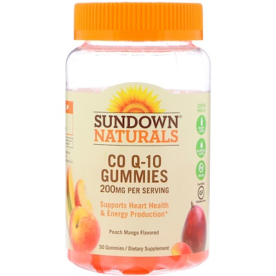 цена на Жевательные таблетки Co Q-10, со вкусом персика и манго, 200 мг, 50 жевательных таблеток